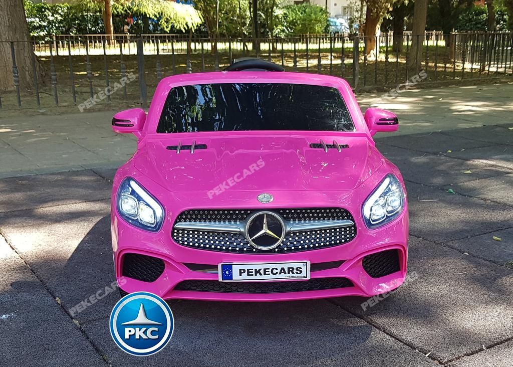 Coche electrico infantil Mercedes SL500 Rosa vista frontal