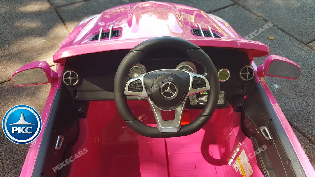 Coche electrico para niños Mercedes SL500 Rosa volante con musica y claxon