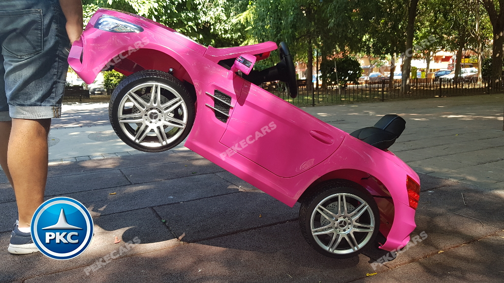 Coche electrico para niños Mercedes SL500 Rosa asa de transporte