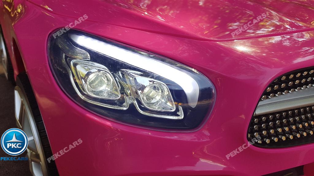Coche electrico infantil Mercedes SL500 Rosa luces frontales