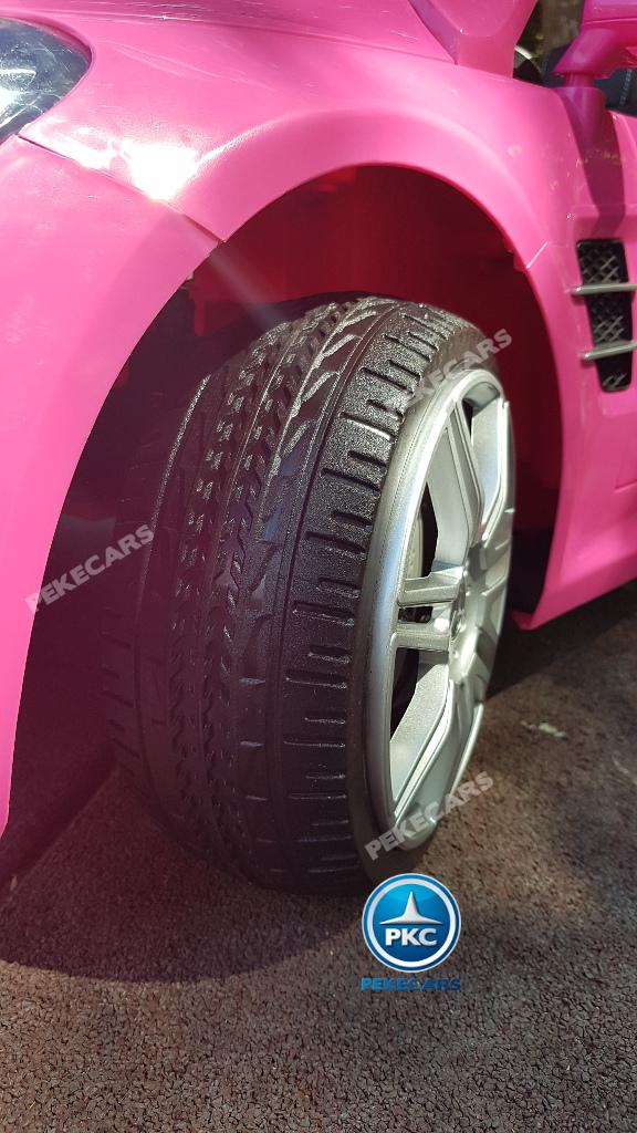 Coche electrico para niños Mercedes SL500 Rosa ruedas de caucho antipinchazos