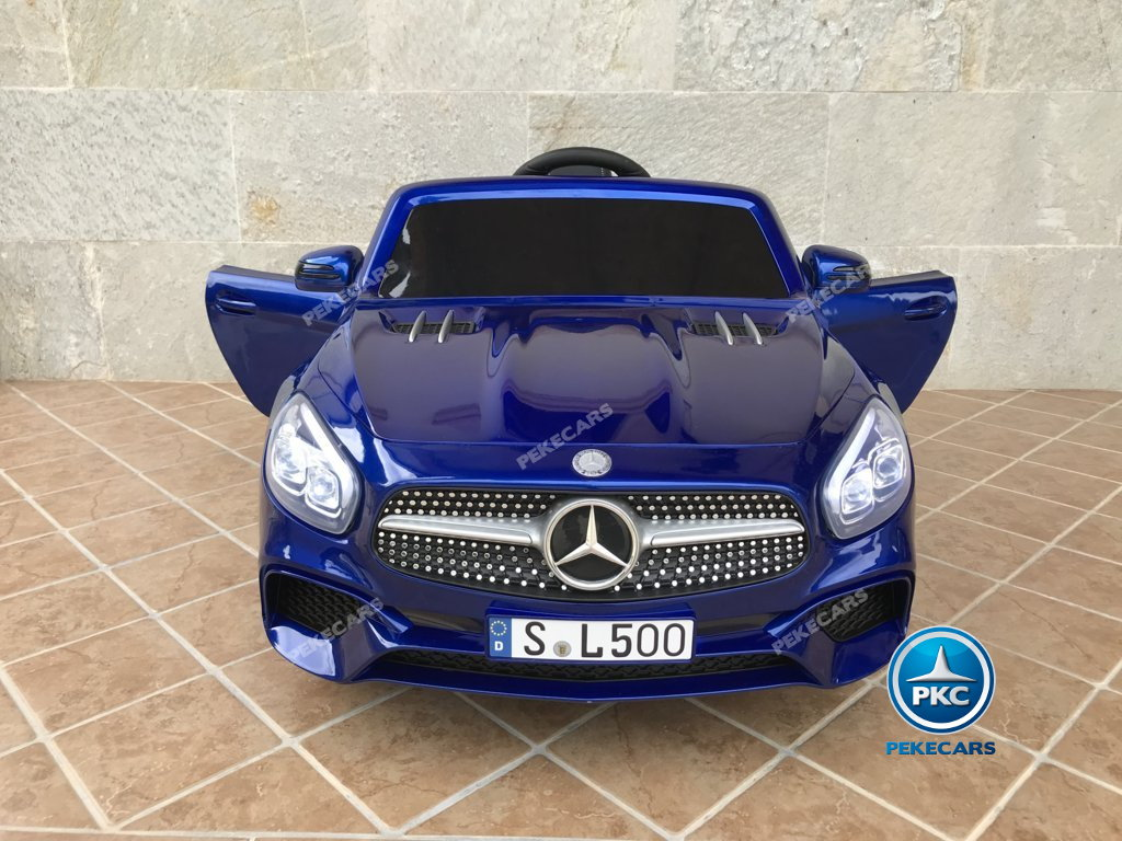 Coche electrico infantil Mercedes SL500 Azul Metalizado vista frontal
