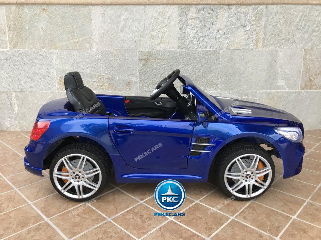 Coche electrico infantil Mercedes SL500 Azul Metalizado lateral