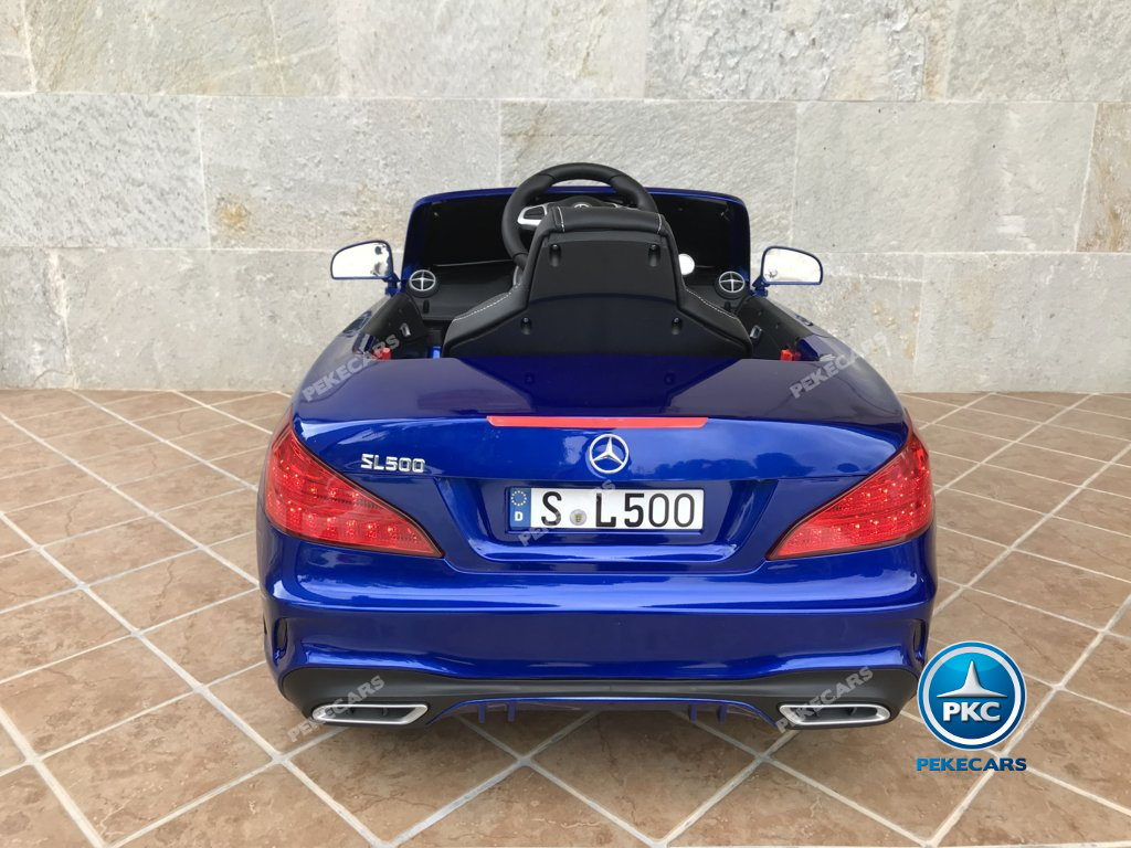 Coche electrico para niños Mercedes SL500 Azul Metalizado vista trasera