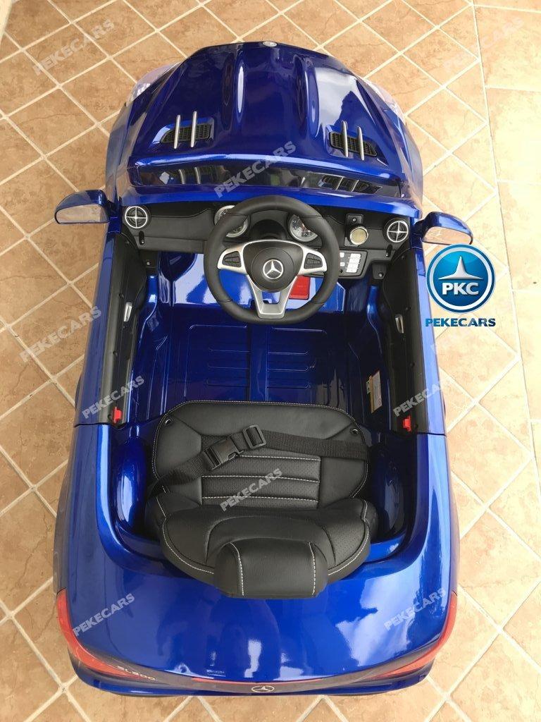 Coche electrico infantil Mercedes SL500 Azul Metalizado detalles del interior