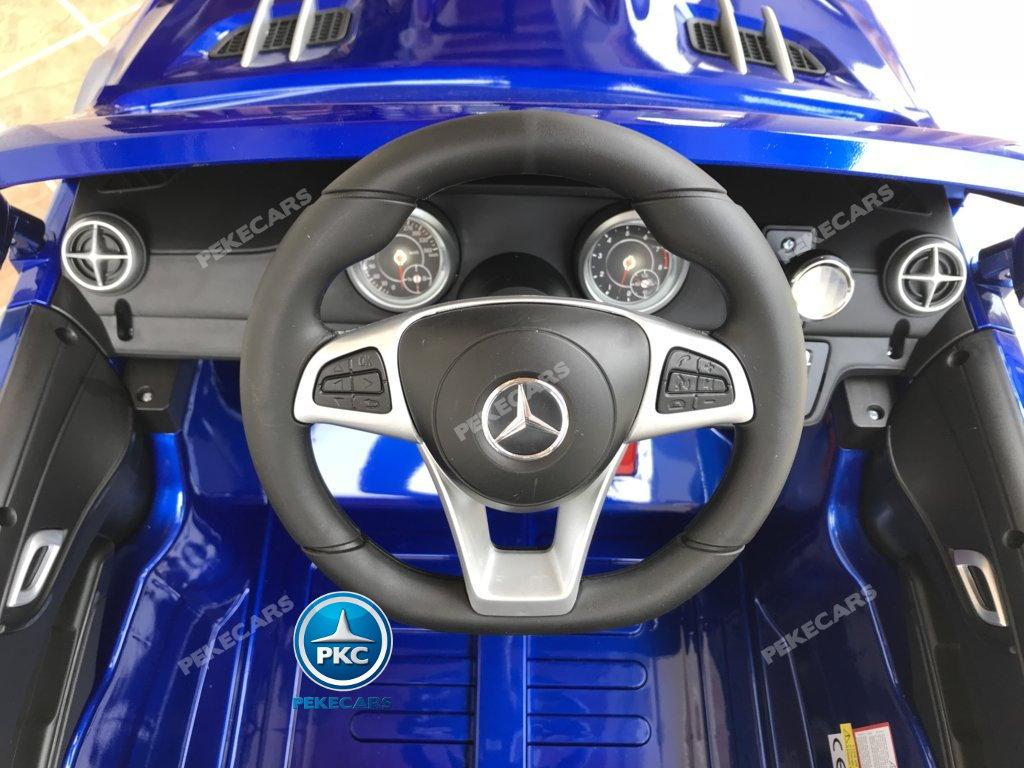 Coche electrico para niños Mercedes SL500 Azul Metalizado volante con musica y claxon