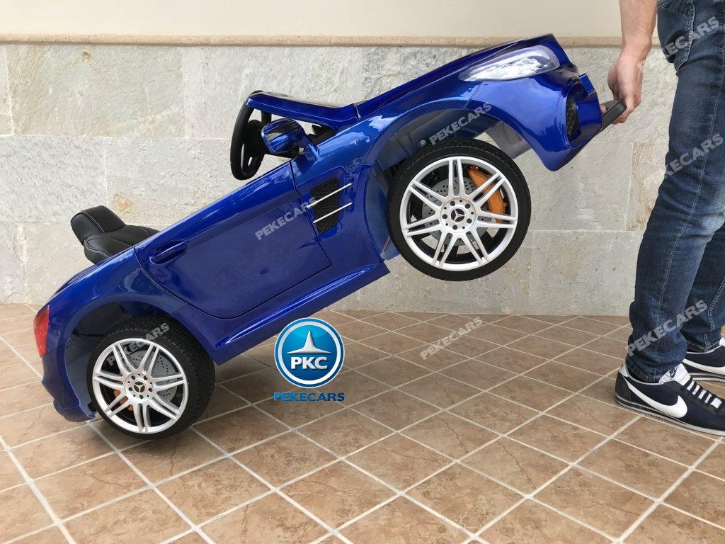 Coche electrico infantil Mercedes SL500 Azul Metalizado con asa de transporte