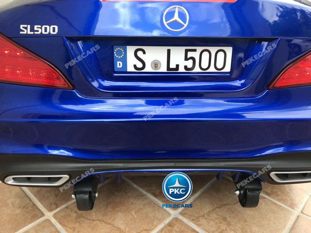 Coche electrico para niños Mercedes SL500 Azul Metalizado ruedines de transporte