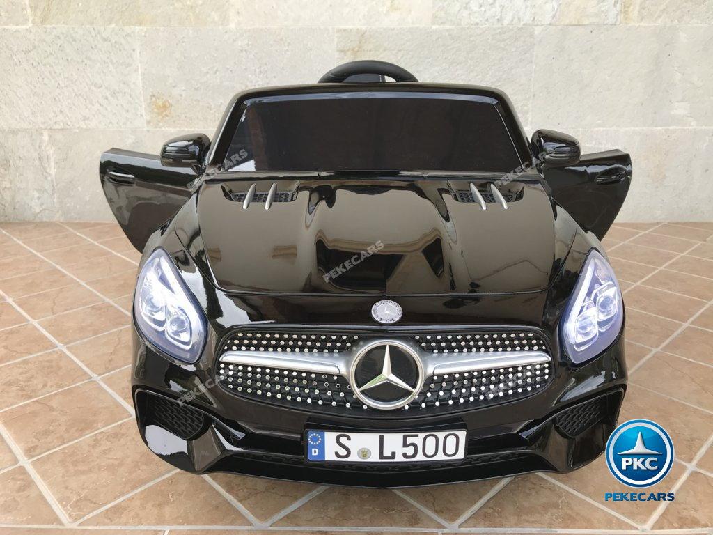 Coche electrico infantil Mercedes SL500 Negro Metalizado vista frontal