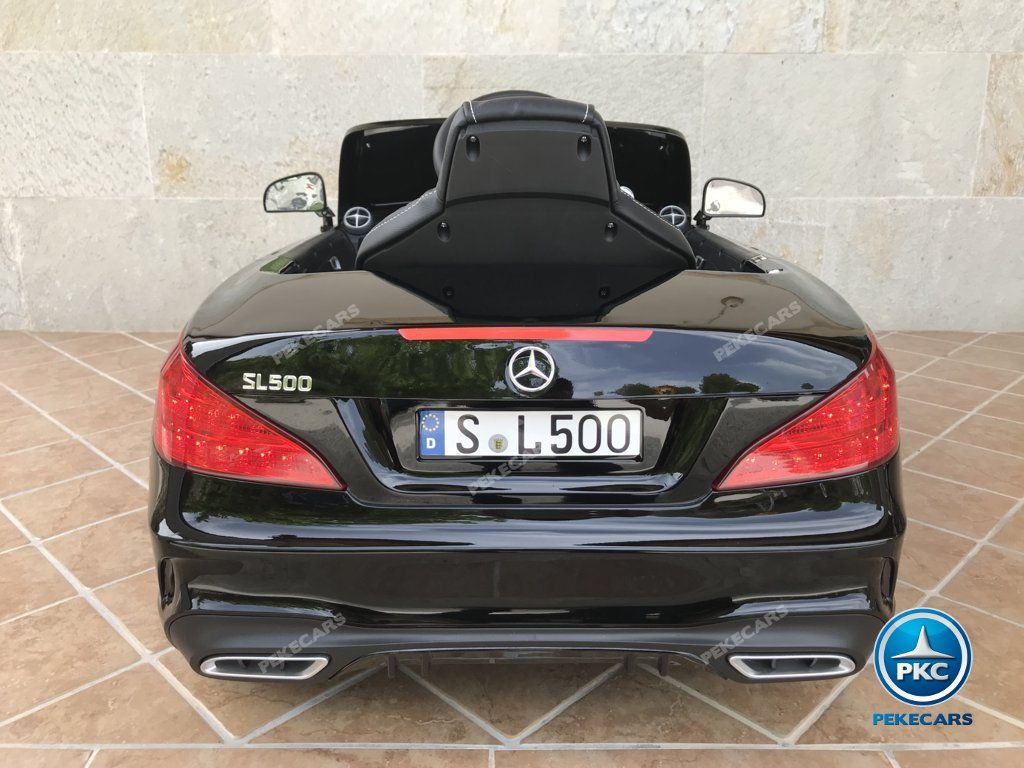 Coche electrico para niños Mercedes SL500 Negro Metalizado vista trasera