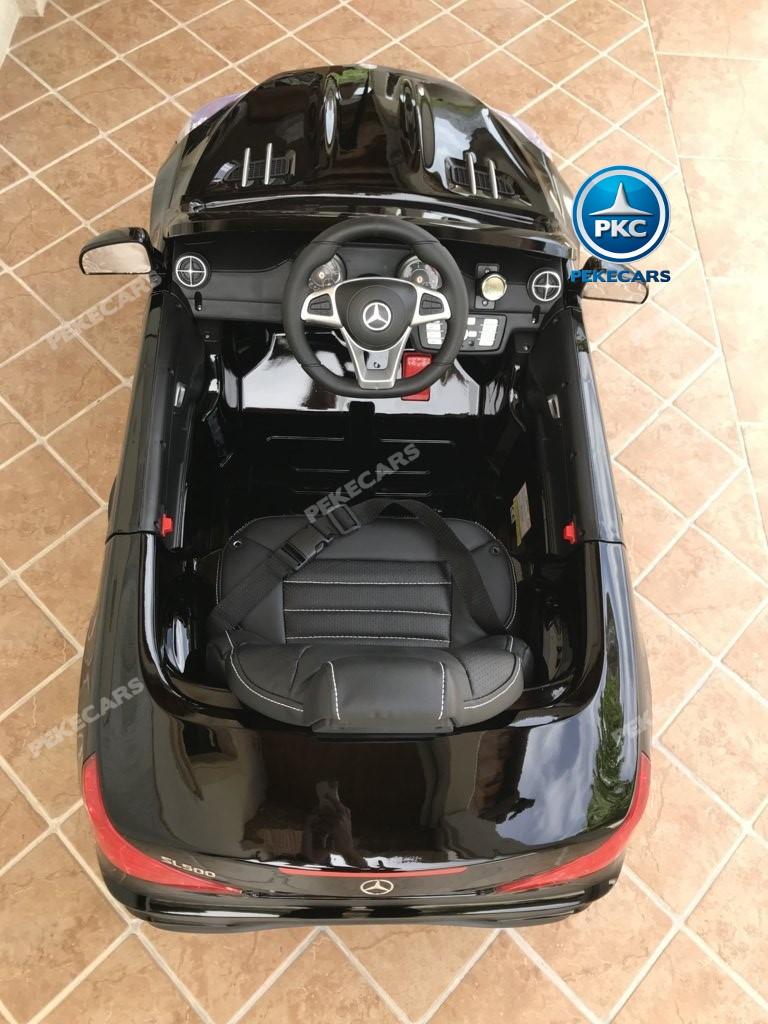 Coche electrico infantil Mercedes SL500 Negro Metalizado detalles del interior