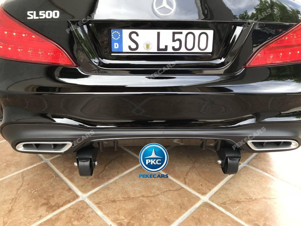 Coche electrico para niños Mercedes SL500 Negro Metalizado ruedines de transporte