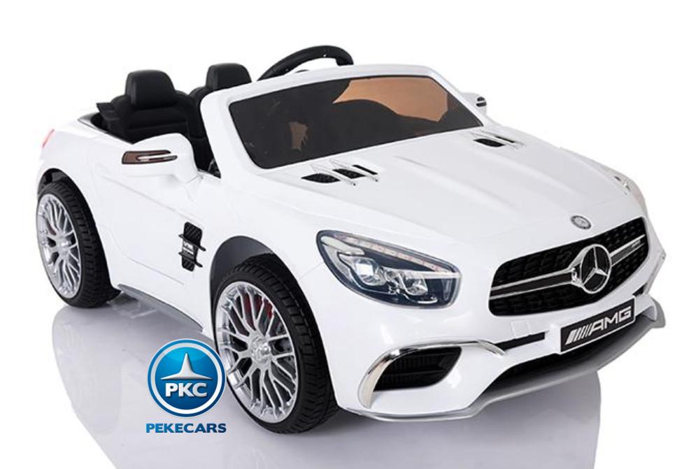 Coche electrico infantil Mercedes SL65 con MP4 y bateria extra Blanco con apertura de puertas