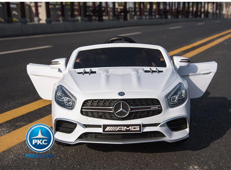Coche electrico infantil Mercedes SL65 con MP4 y bateria extra Blanco vista frontal