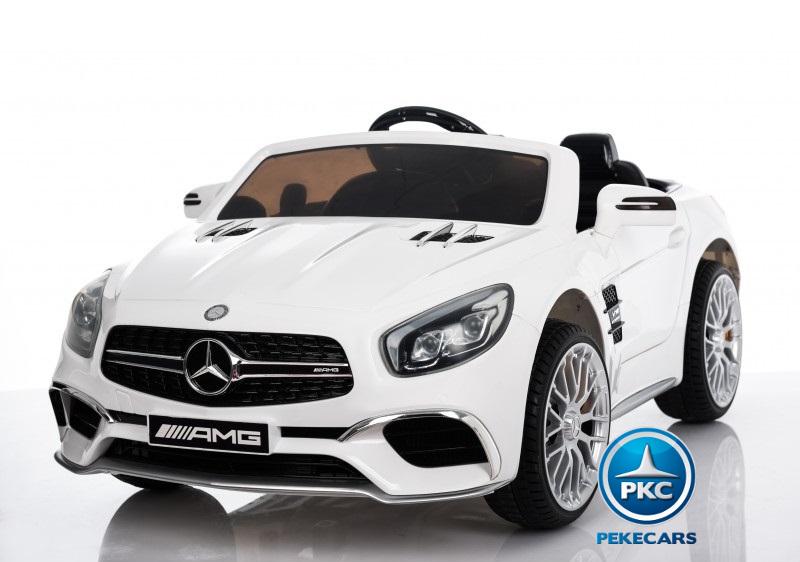 Coche electrico infantil Mercedes SL65 con MP4 y bateria extra Blanco