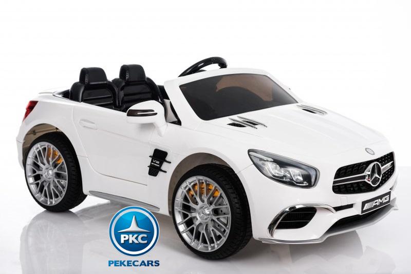 Coche electrico infantil Mercedes SL65 con MP4 y bateria extra Blanco ruedas de caucho antipinchazos