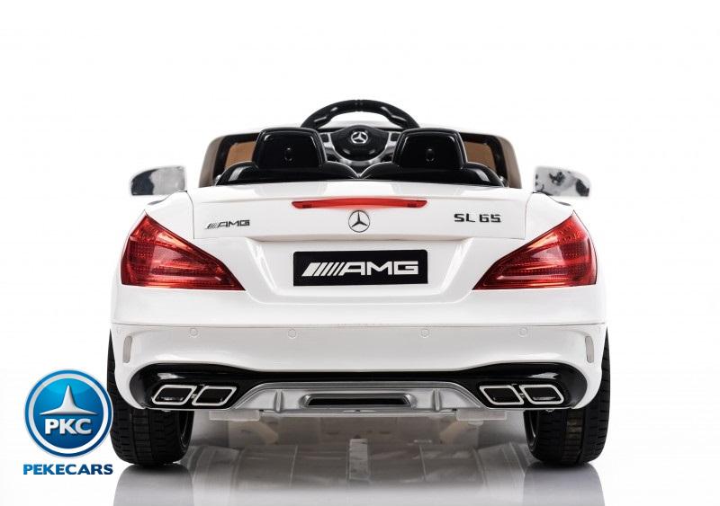 Coche electrico para niños Mercedes SL65 con MP4 y bateria extra Blanco luces traseras
