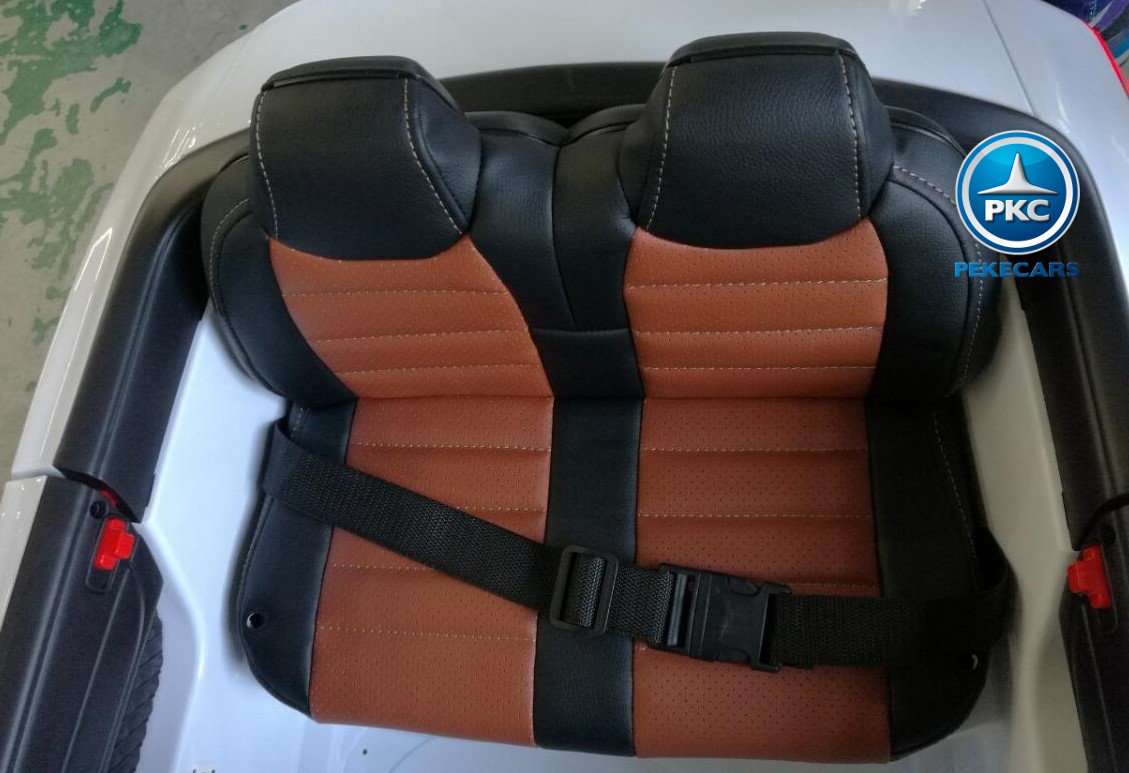 Coche electrico para niños Mercedes SL65 con MP4 y bateria extra Blanco asiento acolchado en piel
