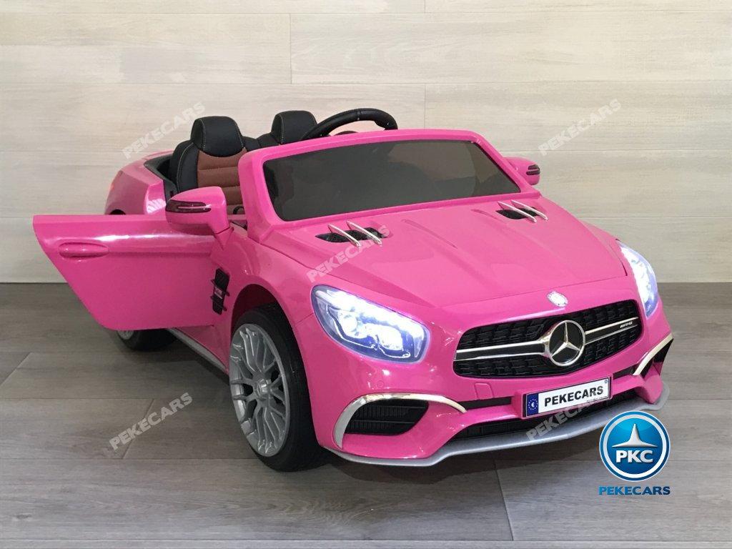 Coche electrico infantil Mercedes SL65 con MP4 y bateria extra Rosa con apertura de puertas