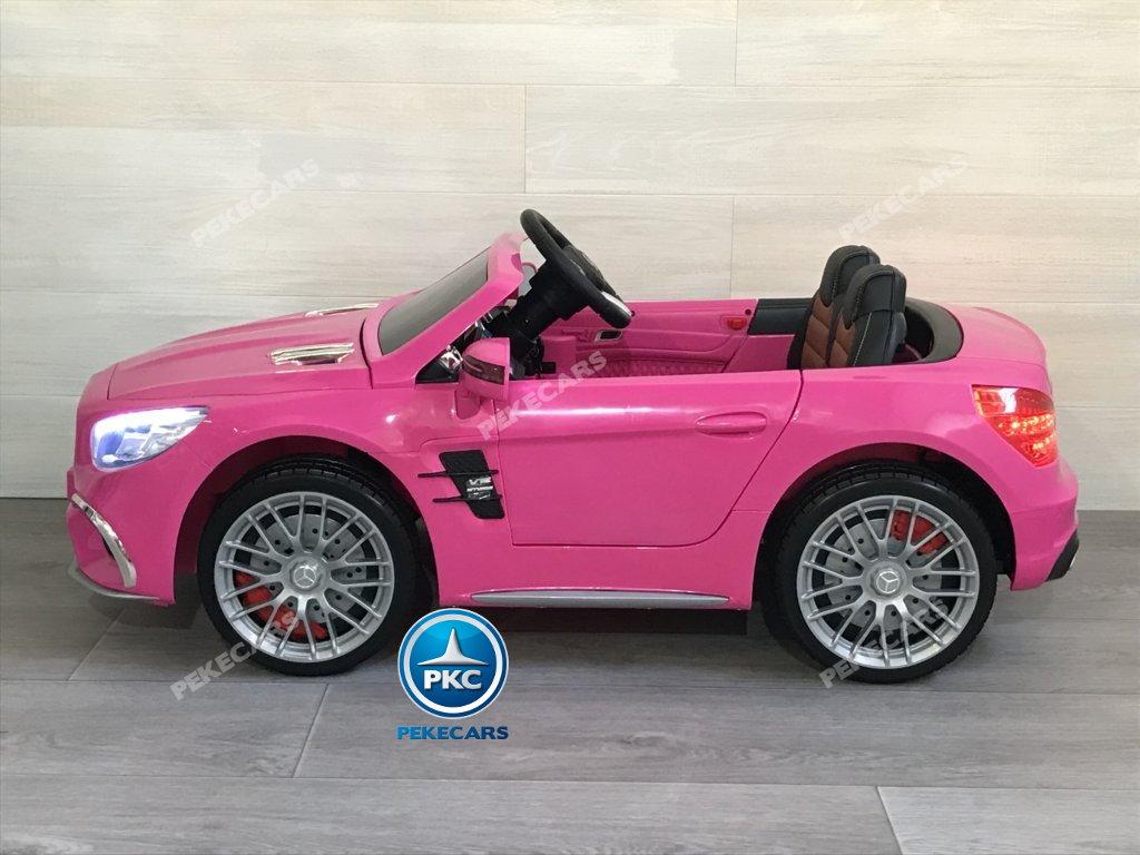 Coche electrico para niños Mercedes SL65 con MP4 y bateria extra Rosa con luces led