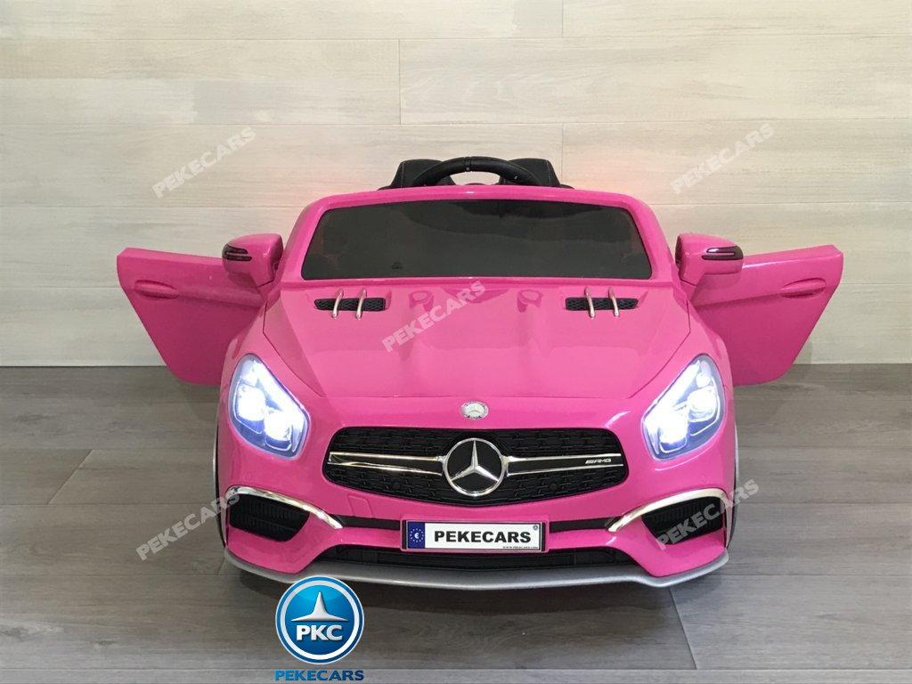 Coche electrico para niños Mercedes SL65 con MP4 y bateria extra Rosa vista delantera
