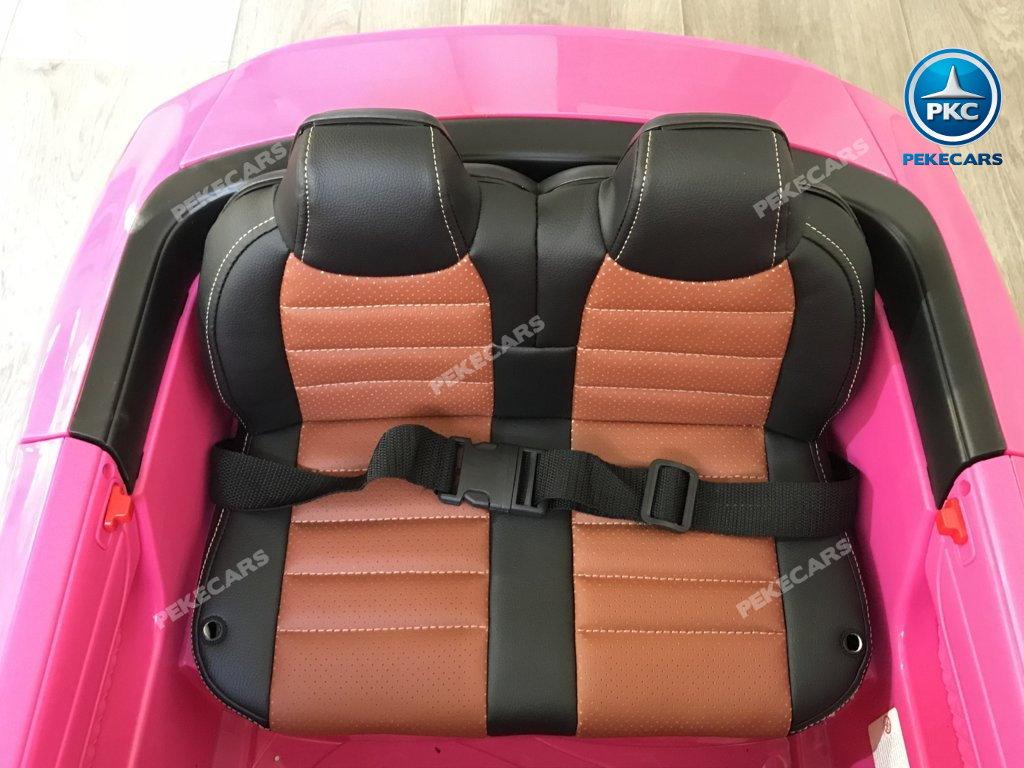 Coche electrico infantil Mercedes SL65 con MP4 y bateria extra Rosa asiento acolchado en piel