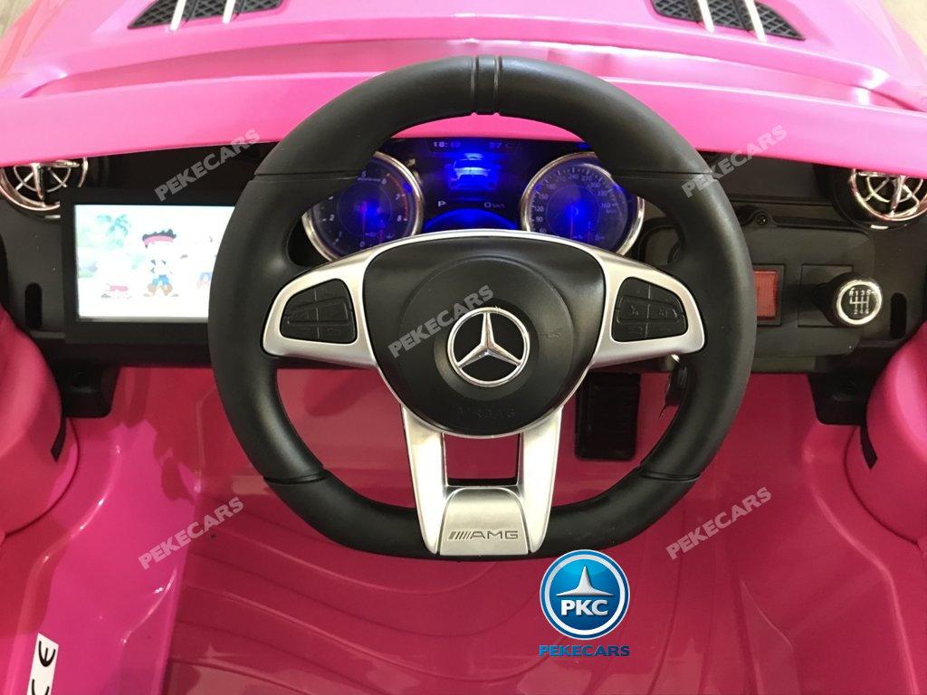 Coche electrico infantil Mercedes SL65 con MP4 y bateria extra Rosa volante con musica y claxon