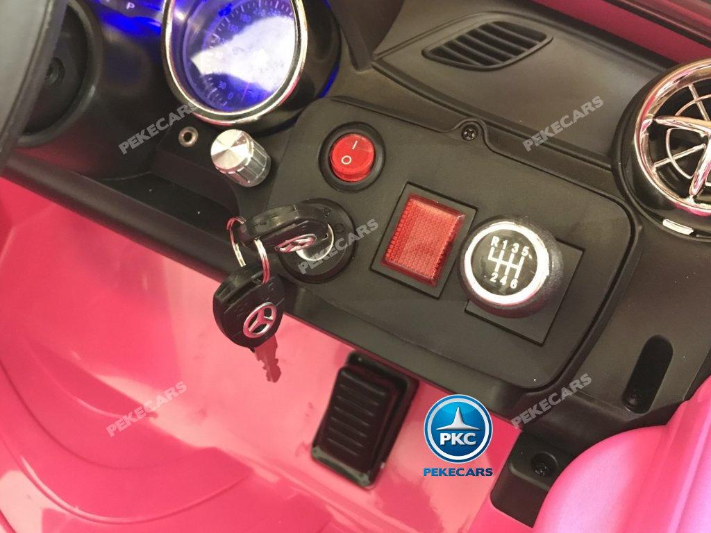 Coche electrico infantil Mercedes SL65 con MP4 y bateria extra Rosa con llave de arranque