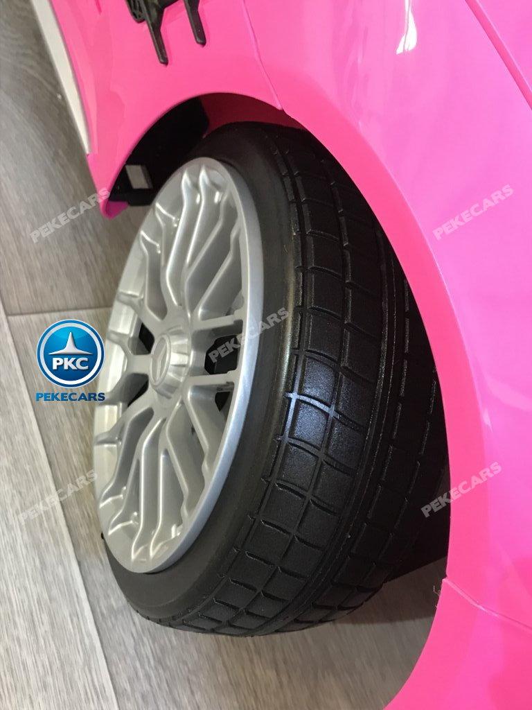Coche electrico para niños Mercedes SL65 con MP4 y bateria extra Rosa ruedas de caucho antipinchazos