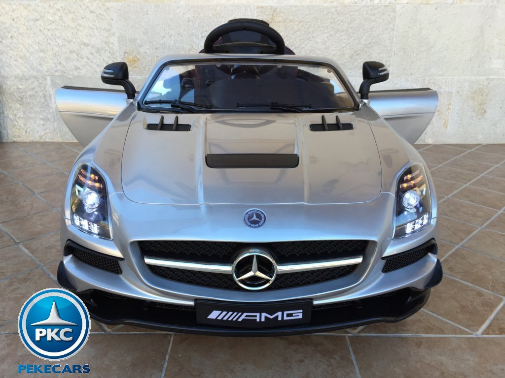 Coche electrico infantil Mercedes deportivo sls Plata Metalizado vista frontal