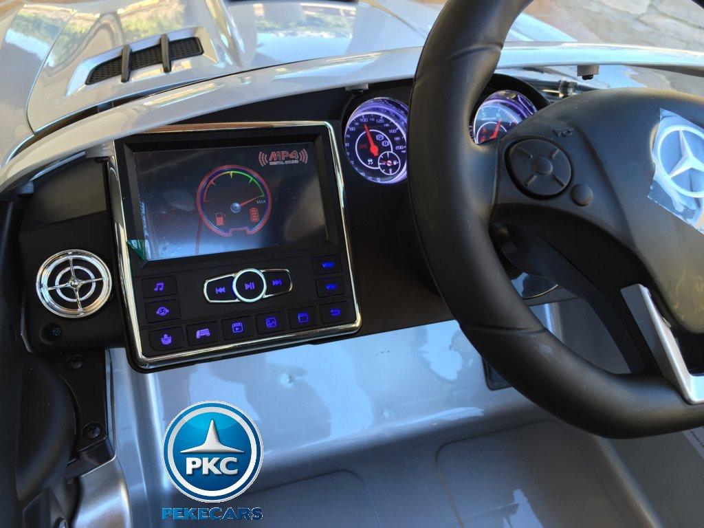 Coche electrico para niños Mercedes deportivo sls Plata Metalizado pantalla mp4