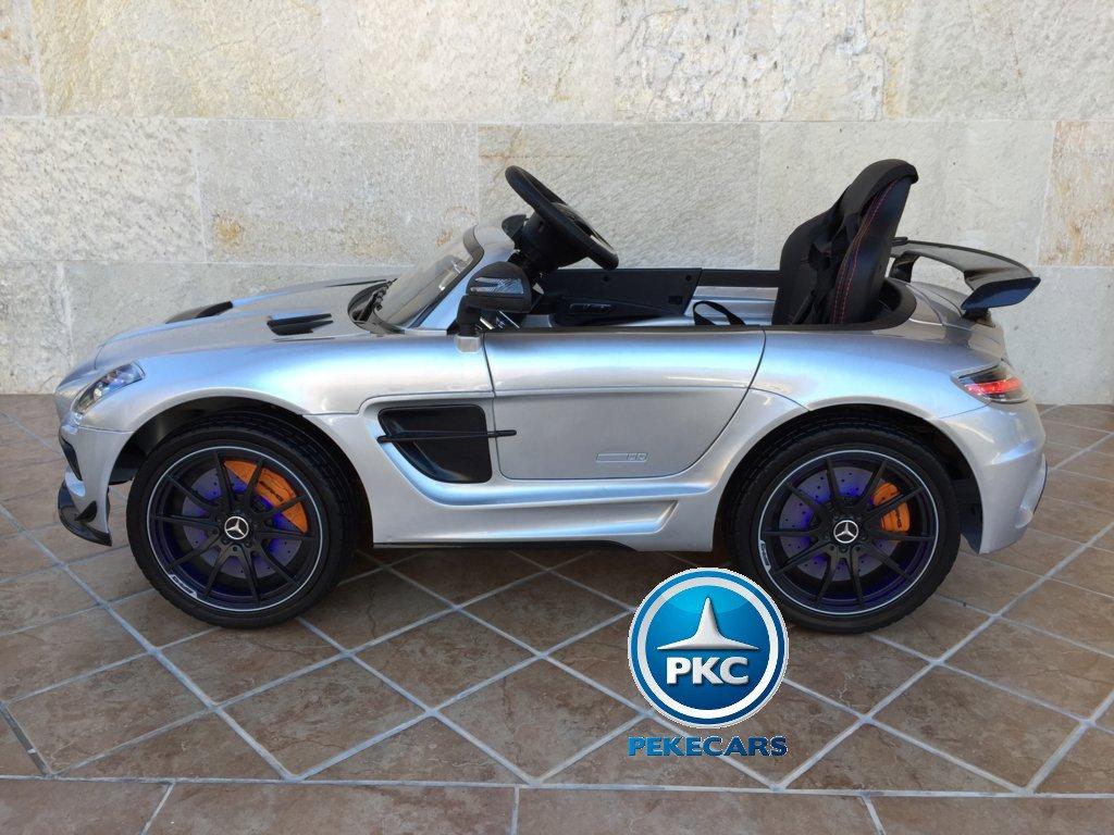Coche electrico infantil Mercedes deportivo sls Plata Metalizado