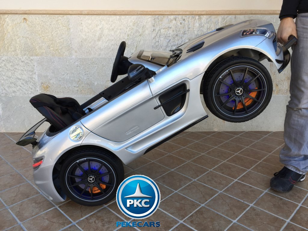 Coche electrico infantil Mercedes deportivo sls Plata Metalizado asa de transporte