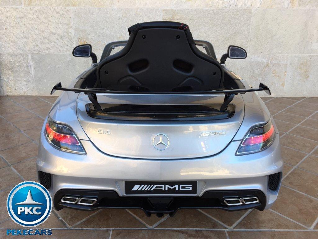 Coche electrico para niños Mercedes deportivo sls Plata Metalizado vista trasera