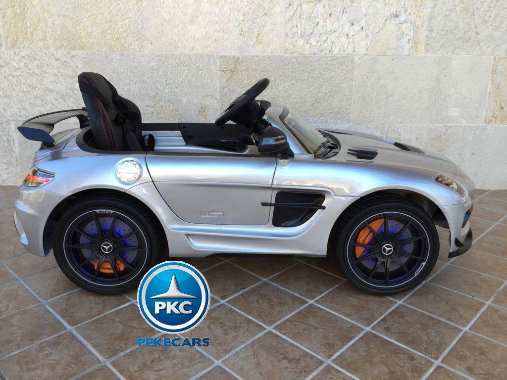 Coche electrico infantil Mercedes deportivo sls Plata Metalizado lateral