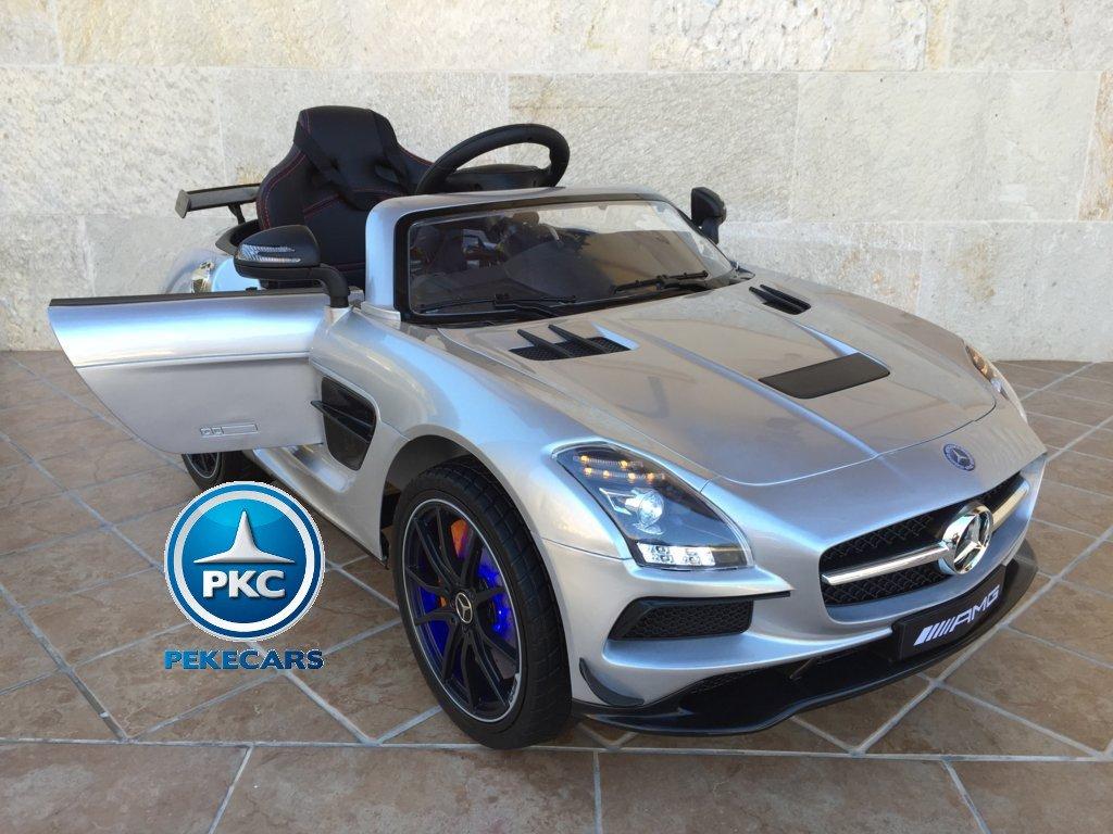 Coche electrico infantil Mercedes deportivo sls Plata Metalizado vista trasera