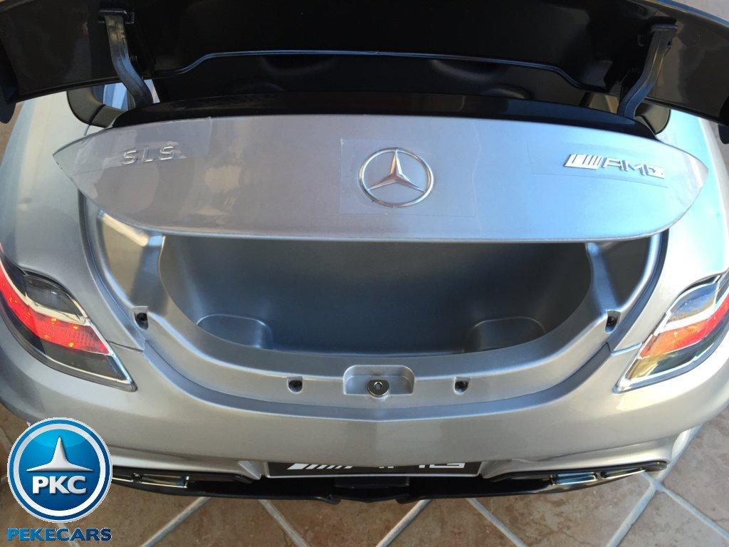 Coche electrico para niños Mercedes deportivo sls Plata Metalizado maletero