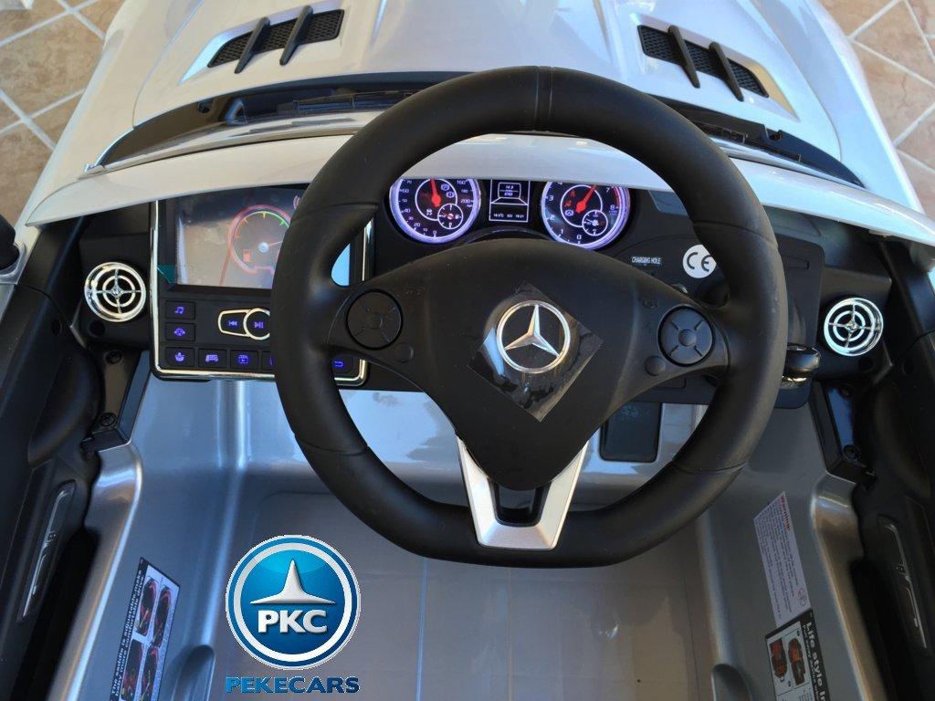 Coche electrico infantil Mercedes deportivo sls Plata Metalizado volante