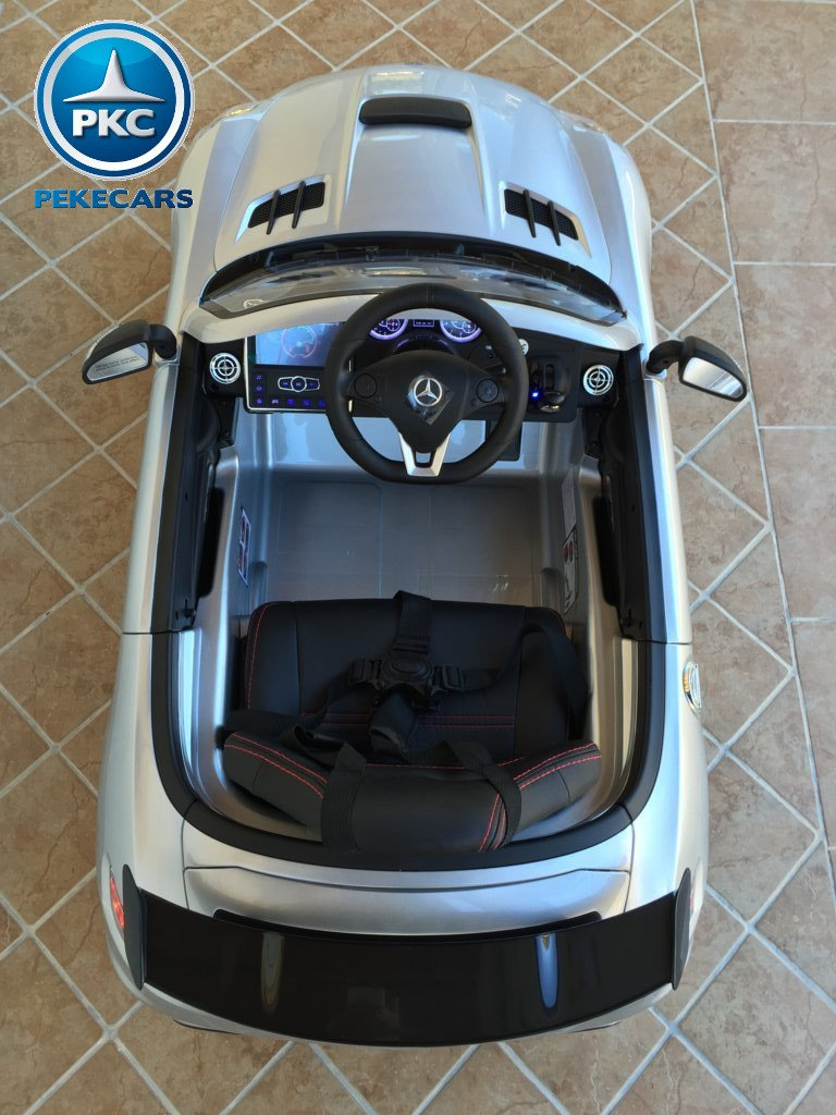 Coche electrico infantil Mercedes deportivo sls Plata Metalizado visto desde arriba