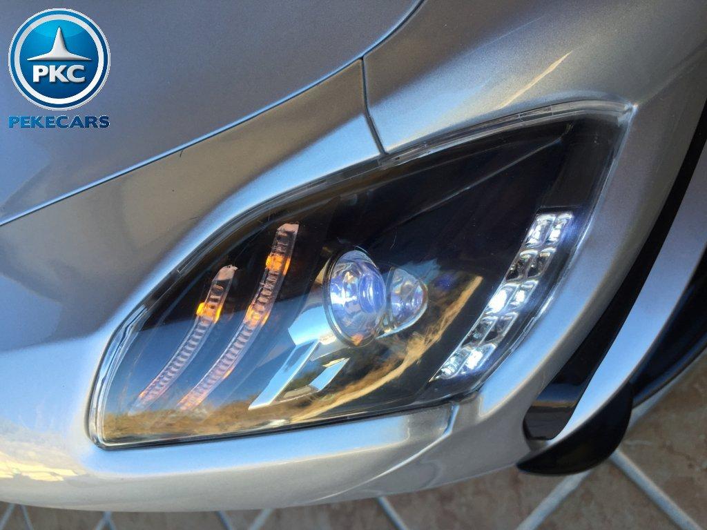 Coche electrico para niños Mercedes deportivo sls Plata Metalizado luces frontales