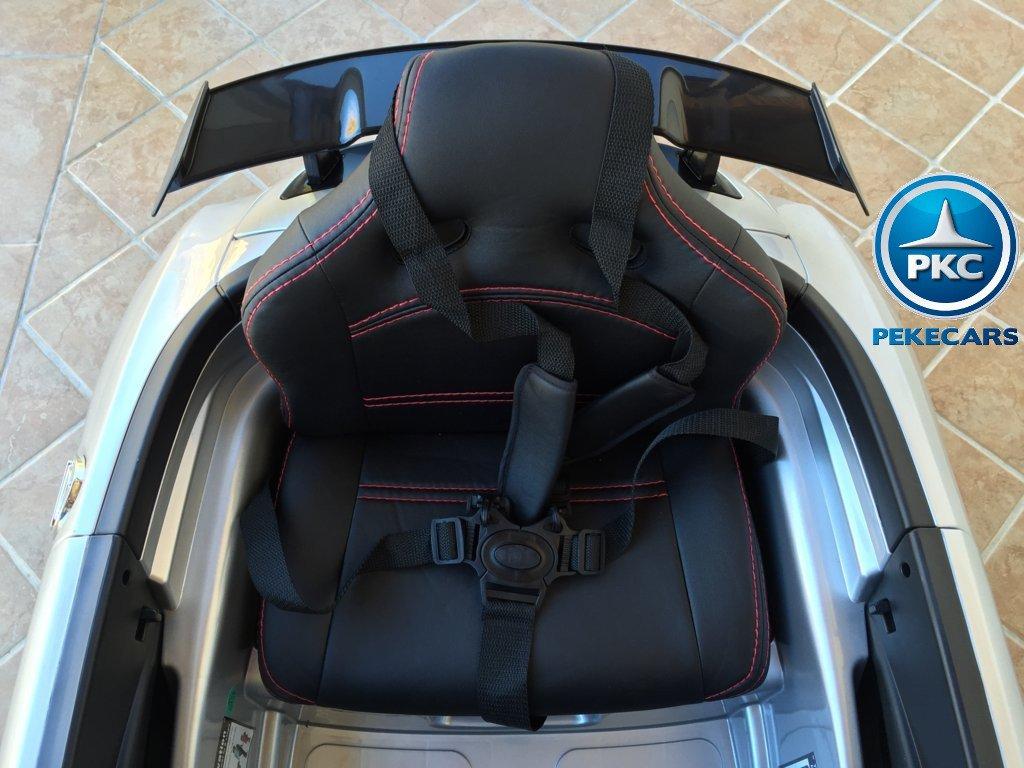 Coche electrico infantil Mercedes deportivo sls Plata Metalizado asiento acolchado