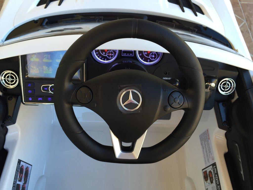 Coche electrico infantil Mercedes deportivo sls Blanco volante con musica y claxon