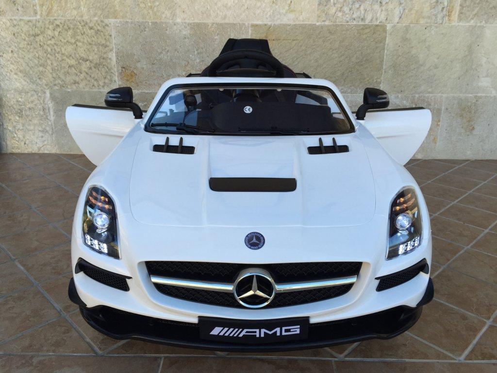Coche electrico para niños Mercedes deportivo sls Blanco vista frontal