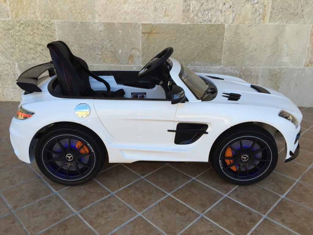 Coche electrico para niños Mercedes deportivo sls Blanco lateral