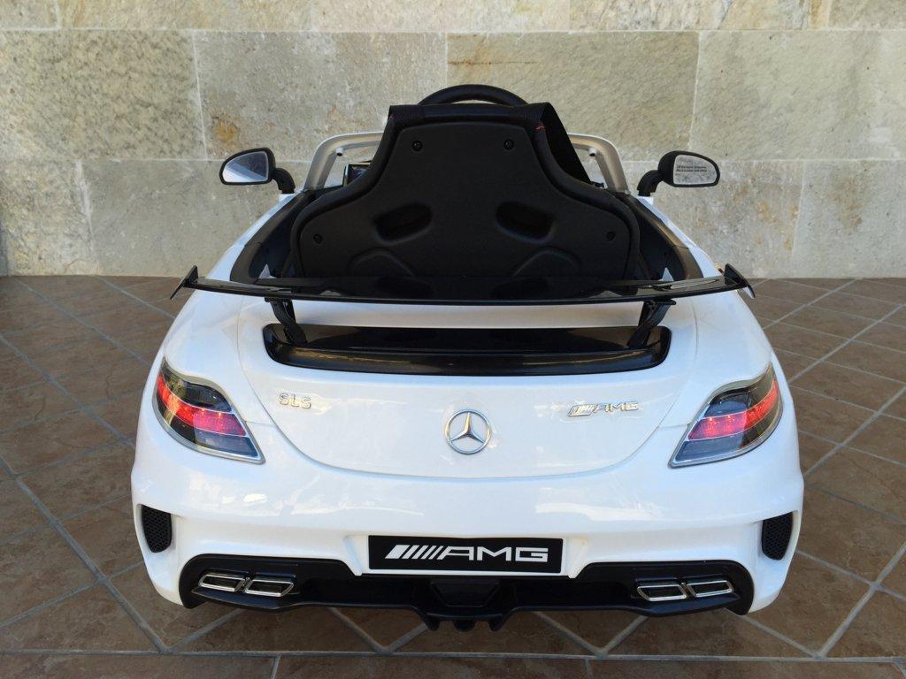 Coche electrico infantil Mercedes deportivo sls Blanco vista trasera