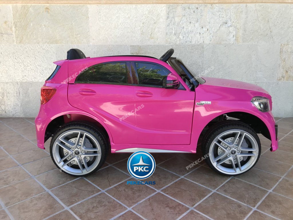 Coche electrico infantil mercedes a45 Rosa lateral