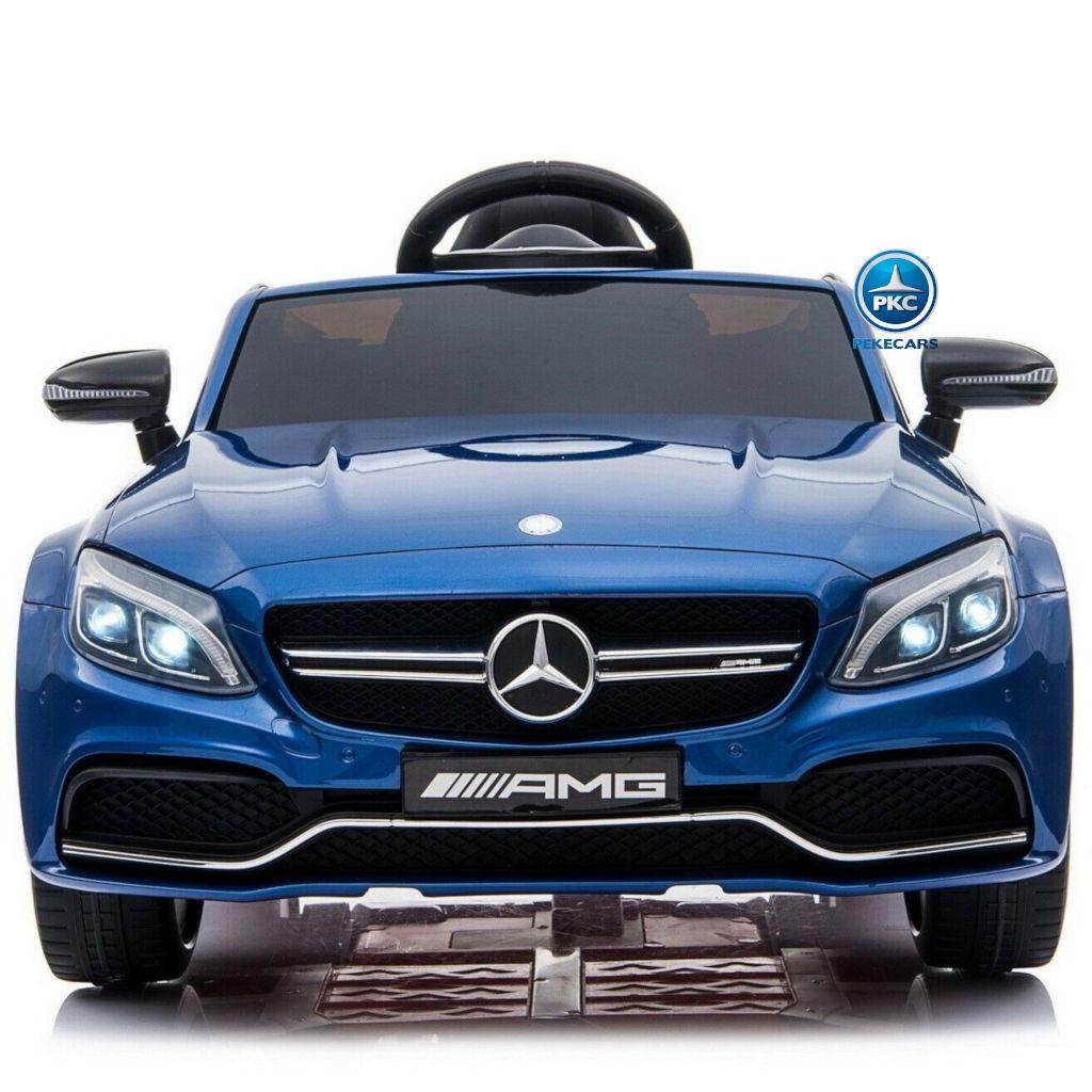 Coche electrico para niños Mercedes C63 Azul Metalizado frontal