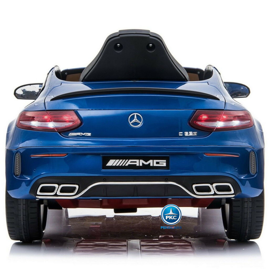 Coche electrico para niños Mercedes C63 Azul Metalizado trasera