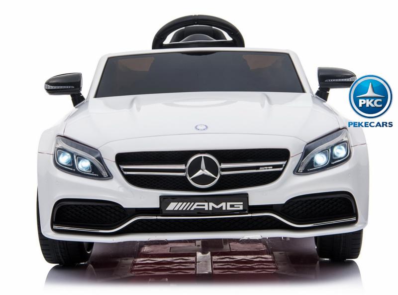 Coche electrico para niños Mercedes C63 Blanco frontal