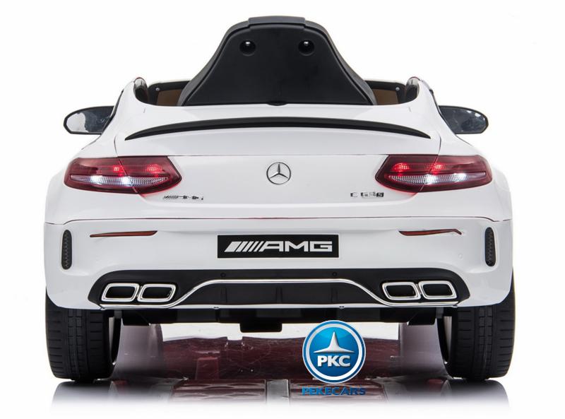 Coche electrico para niños Mercedes C63 Blanco trasera